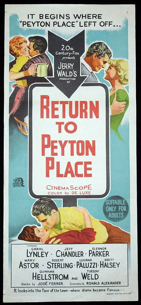 RETURN TO PEYTON PLACE Original Daybill Movie Poster Carol Lynley Jeff Chandler