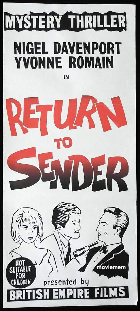 RETURN TO SENDER Original Daybill Movie Poster Edgar Wallace Nigel Davenport