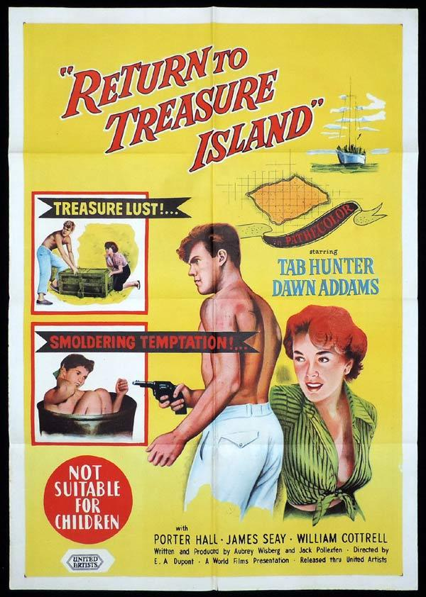 RETURN TO TREASURE ISLAND One Sheet Movie Poster Tab Hunter Dawn Adams