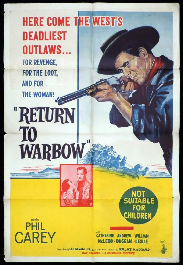 RETURN TO WARBOW One Sheet Movie Poster Phil Carey Western