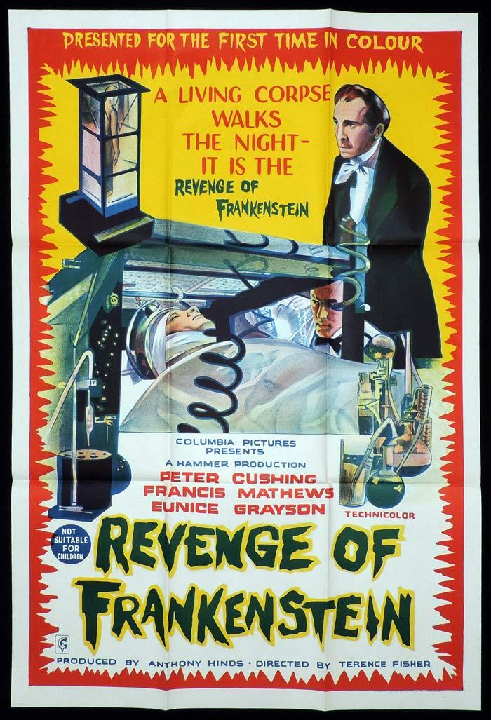 REVENGE OF FRANKENSTEIN One sheet Movie poster HAMMER HORROR Peter Cushing