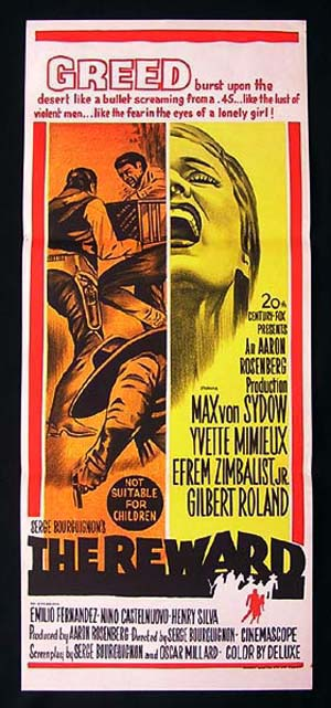 THE REWARD '65 Max Von Sydow ORIGINAL Daybill Movie poster