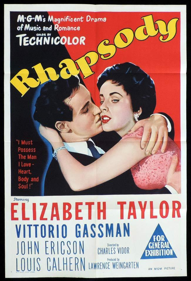 RHAPSODY Original One sheet Movie Poster Elizabeth Taylor Vittorio Gassman
