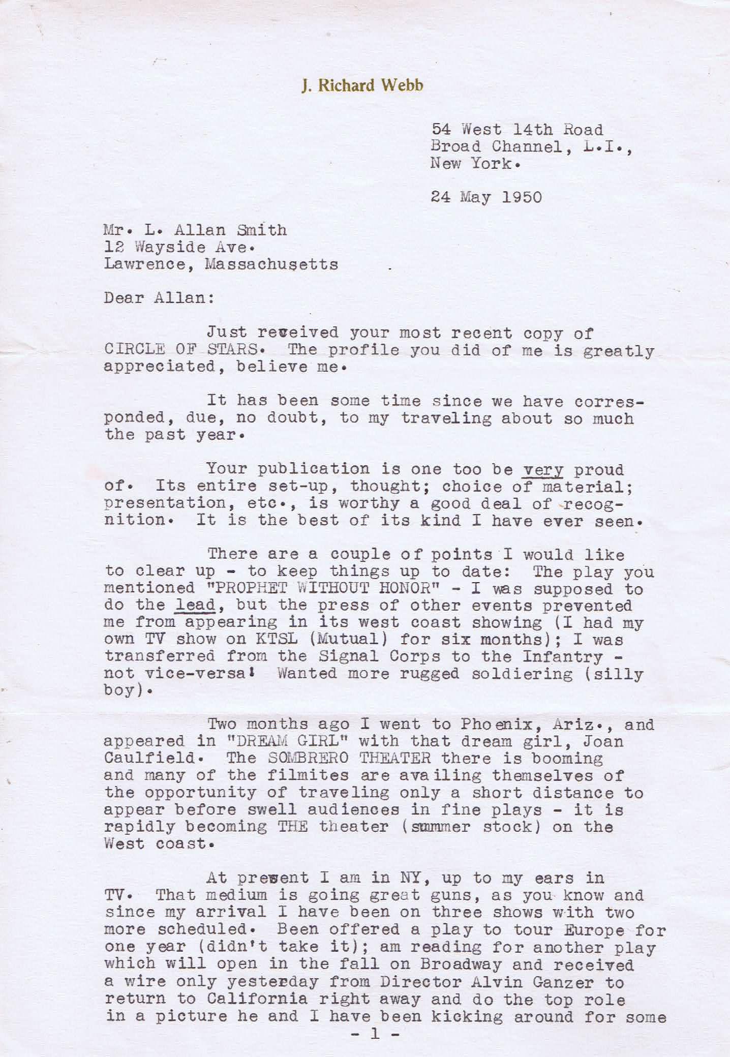 RICHARD WEBB Autographed Letter
