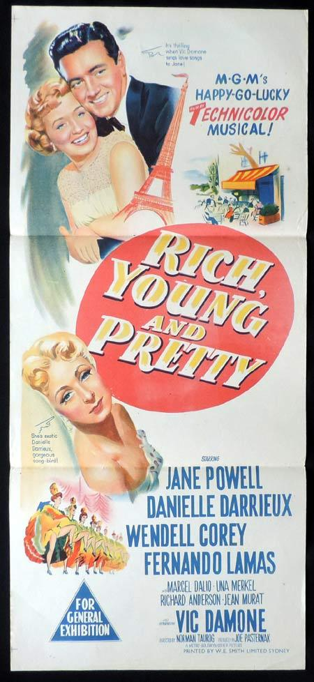 RICH YOUNG AND PRETTY Original Daybill Movie Poster Jane Powell