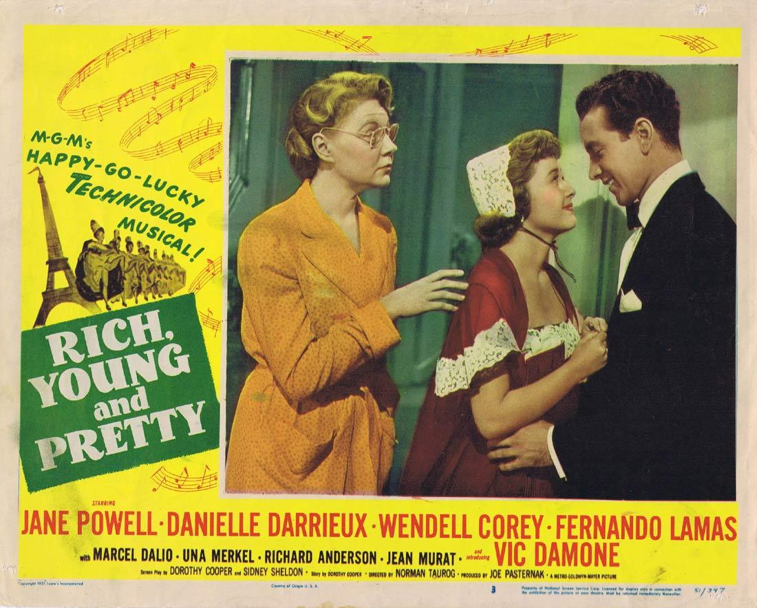 RICH YOUNG AND PRETTY Lobby Card Jane Powell Danielle Darrieux Wendell Corey