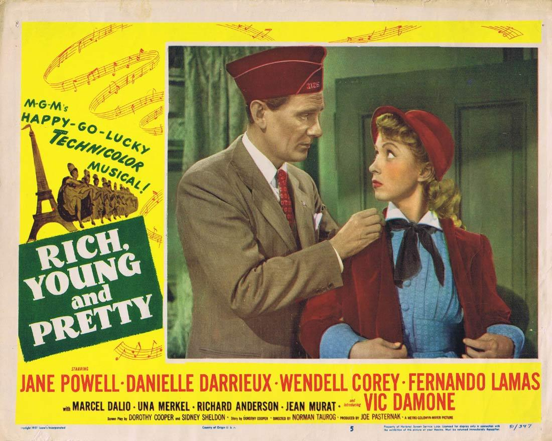 RICH YOUNG AND PRETTY Lobby Card 5 Jane Powell Danielle Darrieux Wendell Corey