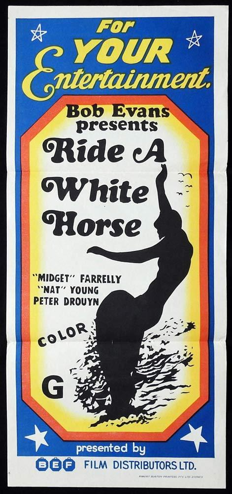 RIDE A WHITE HORSE Daybill Movie poster SURFING Bob Evans Midget Farrelly 70s