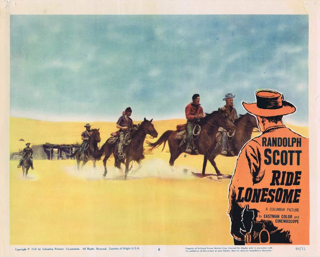 RIDE LONESOME Lobby Card 6 Randolph Scott Western