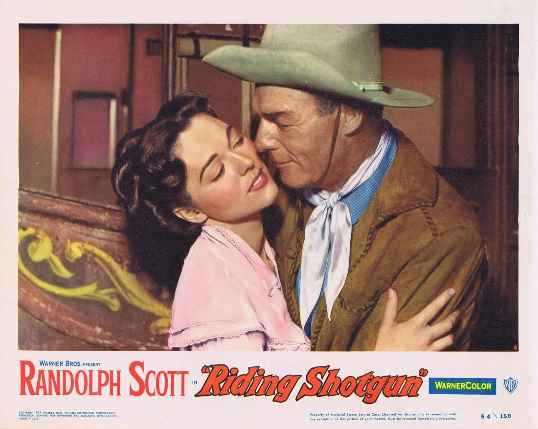 RIDING SHOTGUN Lobby Card 6 Randolph Scott Wayne Morris Joan Weldon
