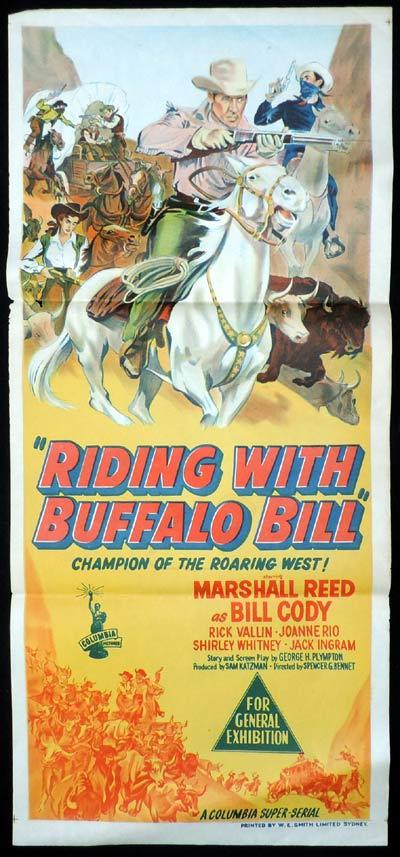 RIDING WITH BUFFALO BILL Daybill Movie Poster Marshall Reed Columbia Serial