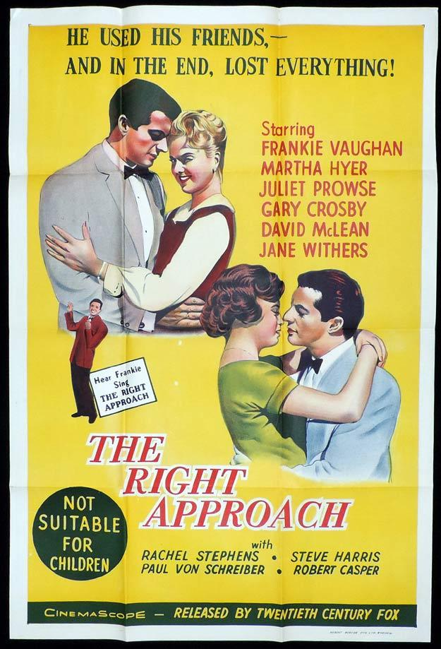 THE RIGHT APPROACH One sheet Movie poster Frankie Vaughan