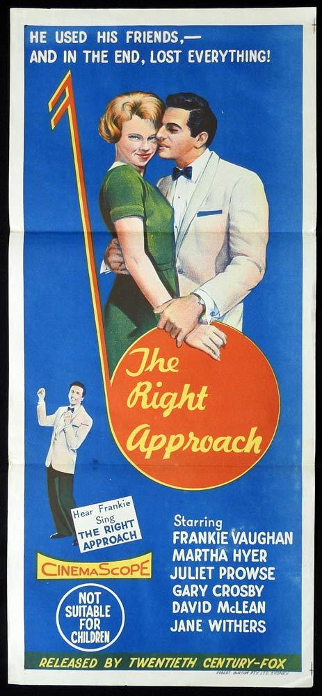 THE RIGHT APPROACH Original Daybill Movie poster Frankie Vaughan Juliet Prowse