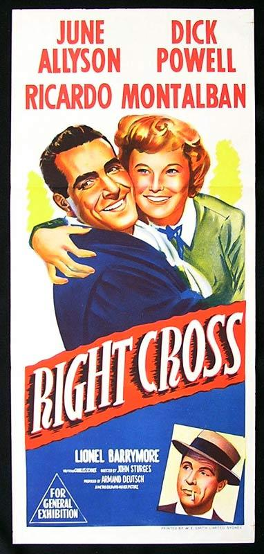 RIGHT CROSS Daybill Movie Poster early Marilyn Monroe Dick Powell boxing