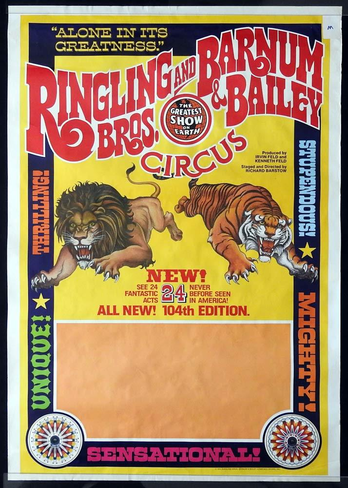 RINGLING BROS & BARNUM & BAILEY CIRCUS Original circus poster 1974 lion and tiger art