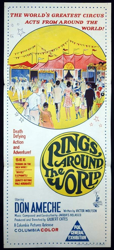 RINGS AROUND THE WORLD Original Daybill Movie Poster Don Ameche Circus Trapeze