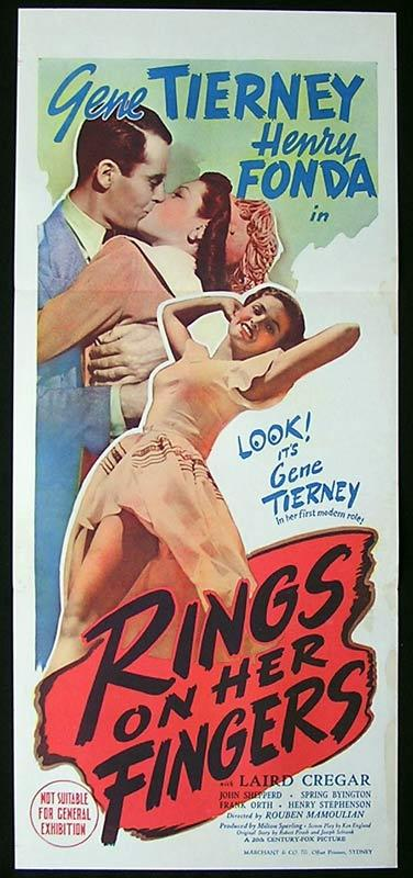 RINGS ON HER FINGERS Original Daybill Movie Poster Henry Fonda and Gene Tierney
