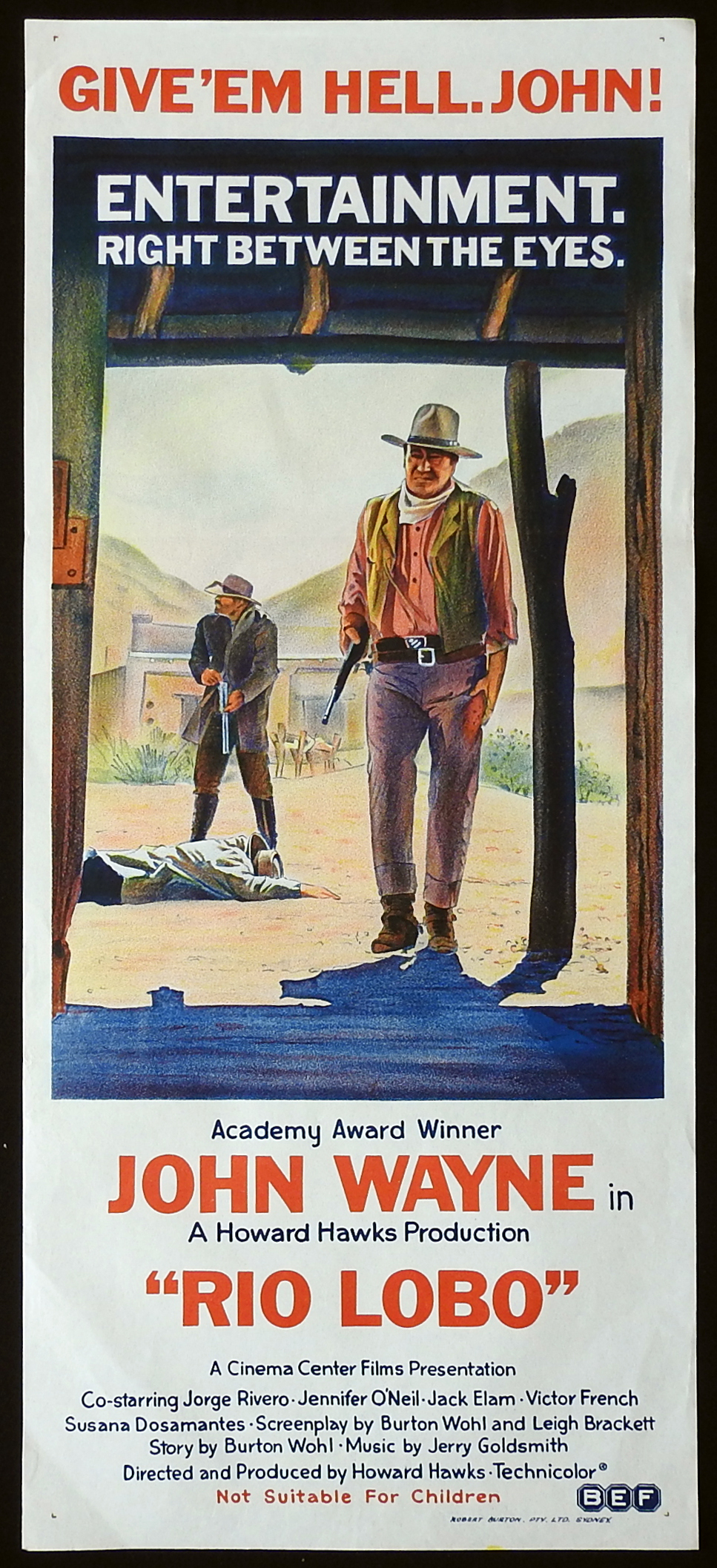 RIO LOBO Original Daybill Movie Poster John Wayne Jorge Rivero Jennifer O'Neill