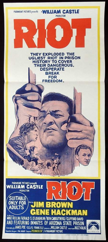 RIOT Original Daybill Movie Poster Gene Hackman Jim Brown Prison break