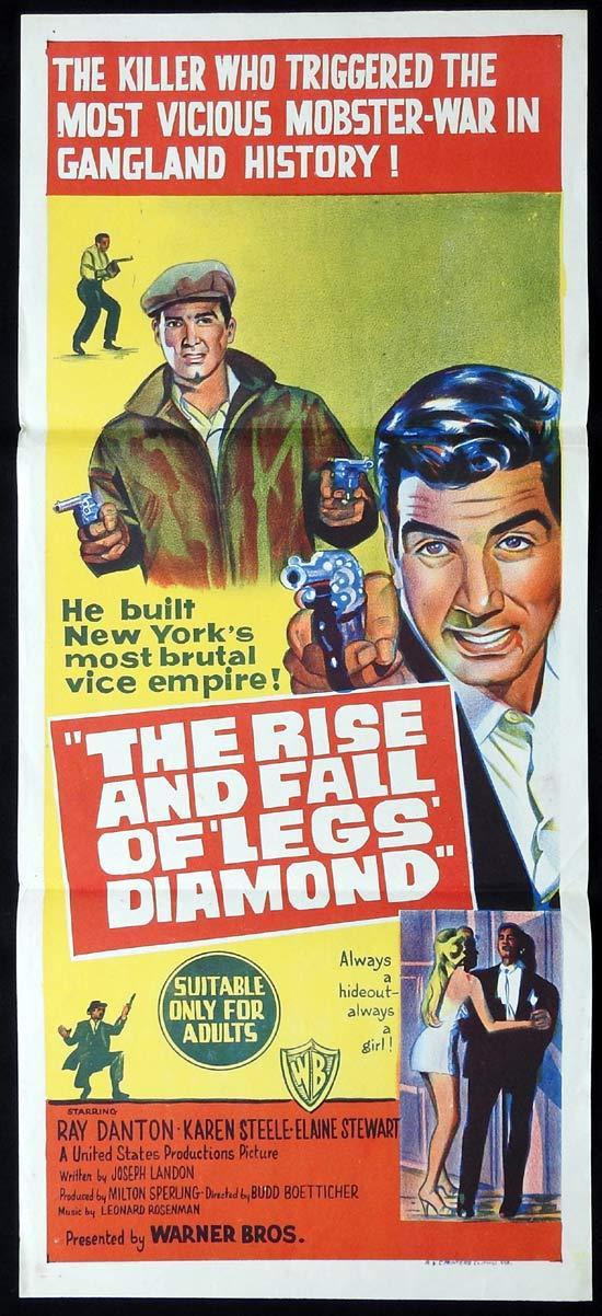 THE RISE AND FALL OF LEGS DIAMOND Original Daybill Movie Poster Ray Danton Karen Steele Elaine Stewart