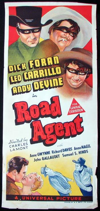 ROAD AGENT Movie poster Dick Foran Leo Carrillo Andy Devine