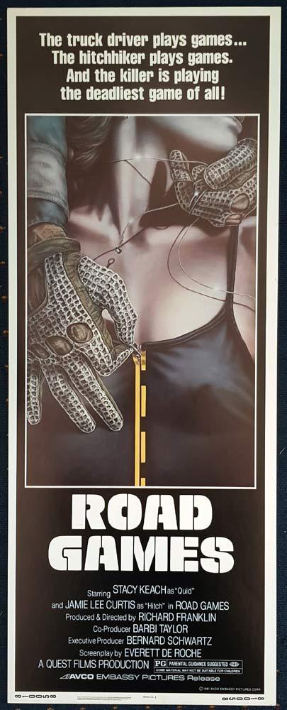 ROAD GAMES Original US Insert Movie poster Jamie Lee Curtis