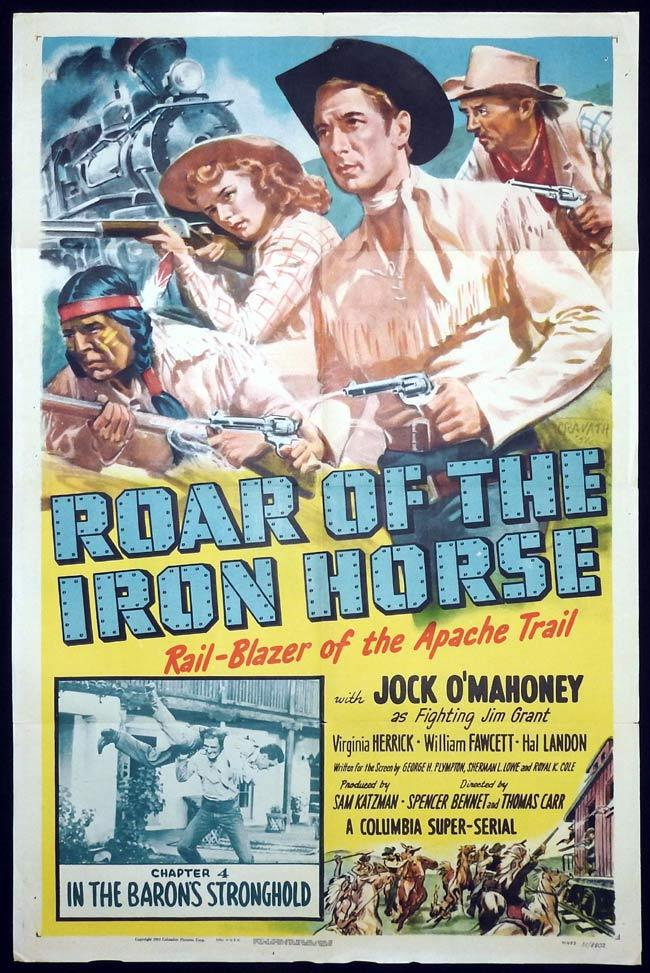 ROAR OF THE IRON HORSE Original One sheet Movie Poster Columbia Serial Jock O'Mahoney