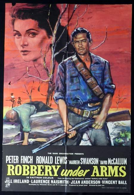 ROBBERY UNDER ARMS Movie Poster 1957 Rare PETER FINCH English One sheet