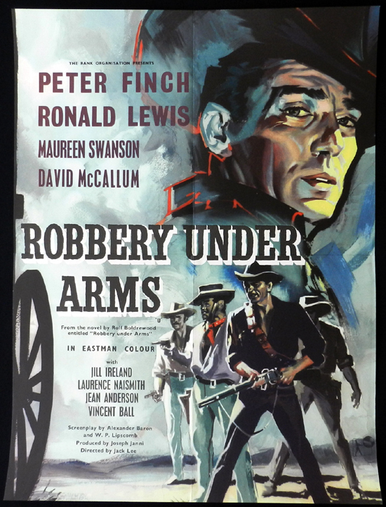 ROBBERY UNDER ARMS Movie Poster 1957 Rare PETER FINCH English half crown