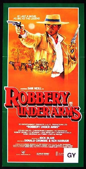 ROBBERY UNDER ARMS Original daybill Movie poster Sam Neill