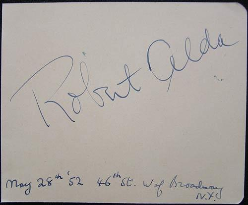 ROBERT ALDA Rare 1952 Authentic Movie Star Autograph
