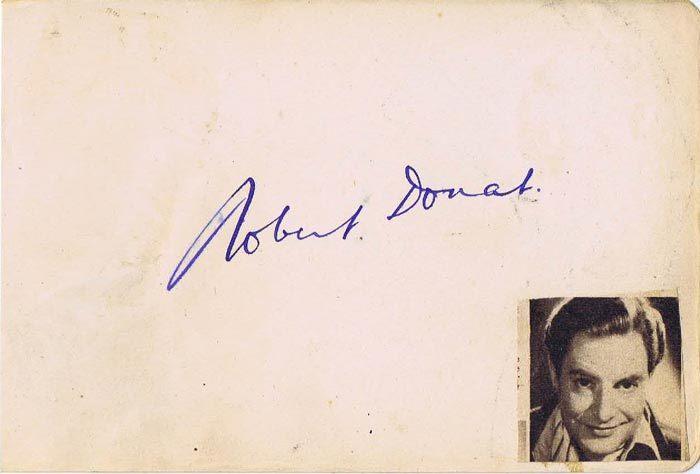 ROBERT DONAT Autograph on an Album Page