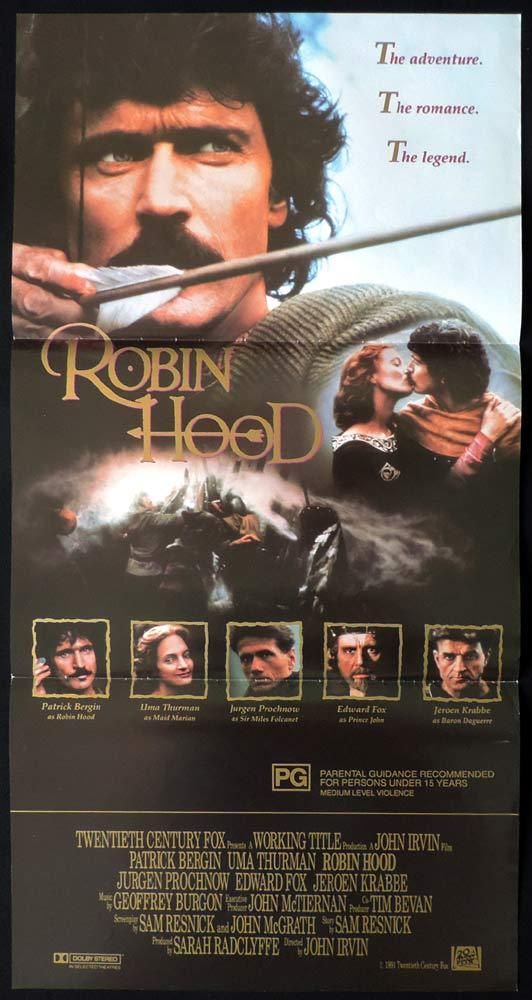 ROBIN HOOD Original Daybill Movie Poster Patrick Bergin Uma Thurman