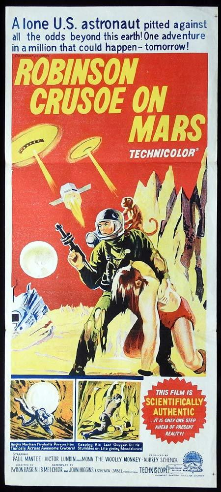 ROBINSON CRUSOE ON MARS Original Daybill Movie poster Sci F