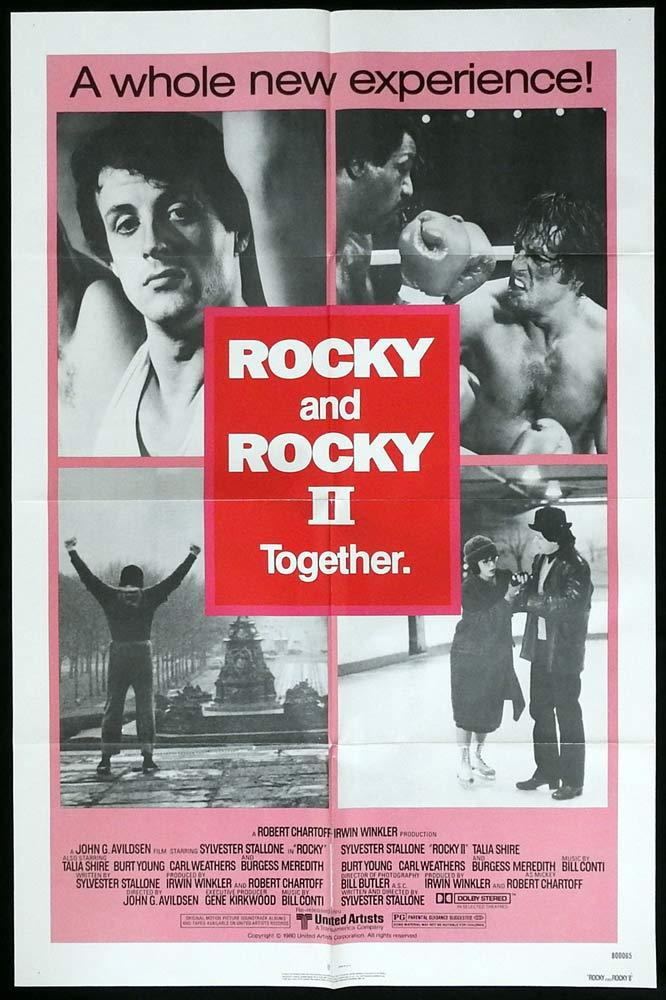 ROCKY 1 and 2 Original Double Bill US One sheet Movie poster Sylvester Stallone