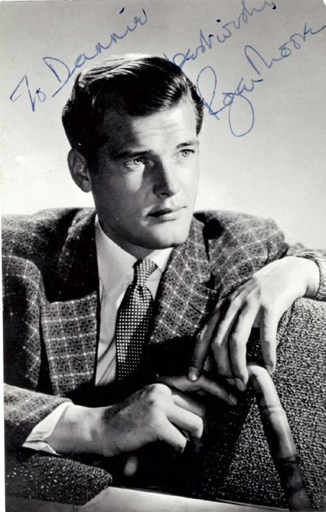 ROGER MOORE Autographed 3″ x 5″ Vintage Photo