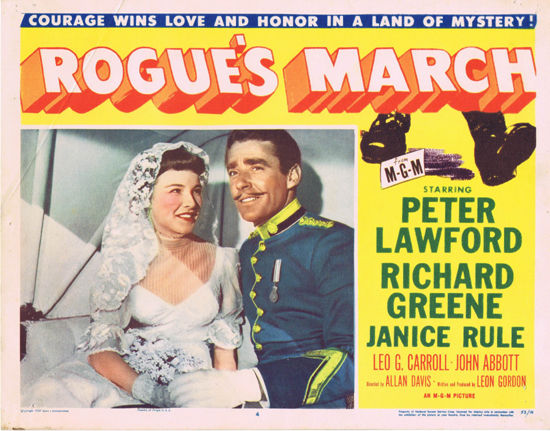 ROGUE'S MARCH 1953 US Lobby Card 4 Peter Lawford