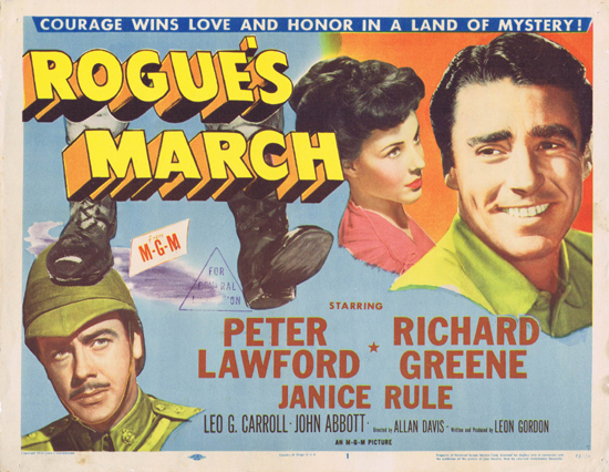 ROGUE'S MARCH 1953 US Title Lobby Card Peter Lawford