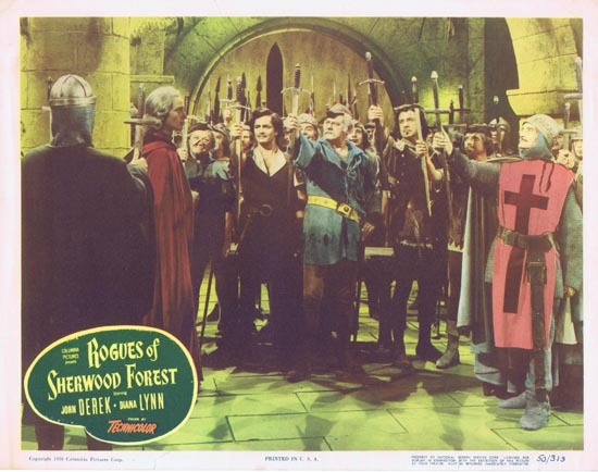 ROGUES OF SHERWOOD FOREST 1950 John Derek as Robin Hood Lobby card 2