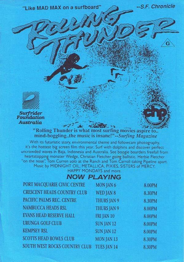 ROLLING THUNDER Surfing Movie Flyer 1991 Scott Dittrich Blue