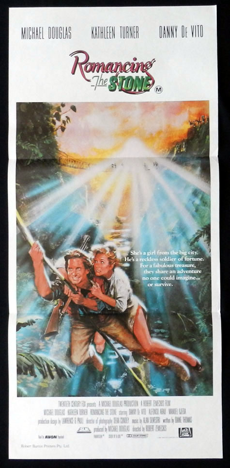 ROMANCING THE STONE Michael Douglas Kathleen Turner VINTAGE Daybill Movie poster