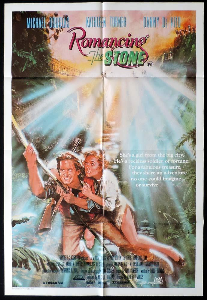 ROMANCING THE STONE Original One sheet Movie poster Kathleen Turner