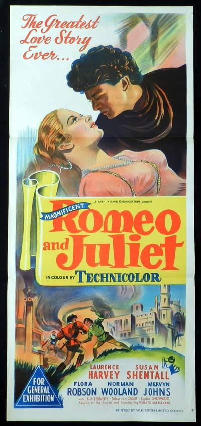 ROMEO AND JULIET Original Daybill Movie Poster 1954 Laurence Harvey