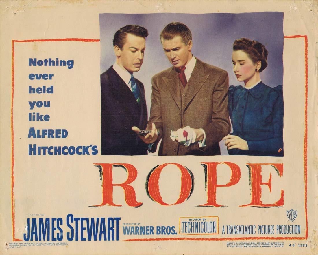 ROPE Original Lobby Card 8 Alfred Hitchcock James Stewart