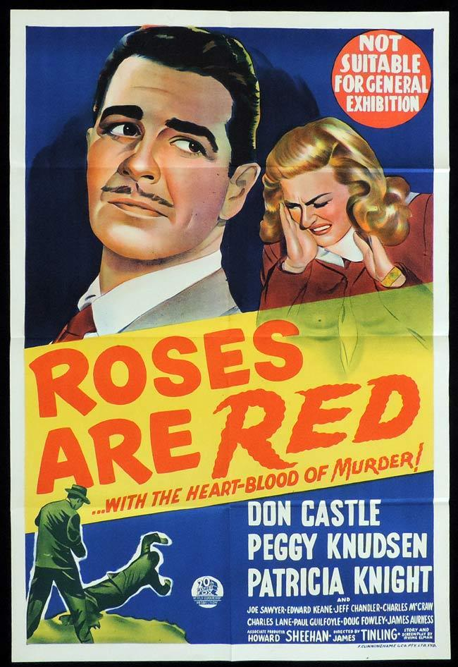 ROSES ARE RED Original One sheet Movie Poster Don Castle Peggy Knudson Film Noir