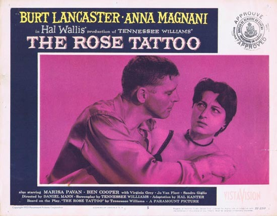 ROSE TATOO 1955 US Lobby card 5 Burt Lancaster Tennesse Williams