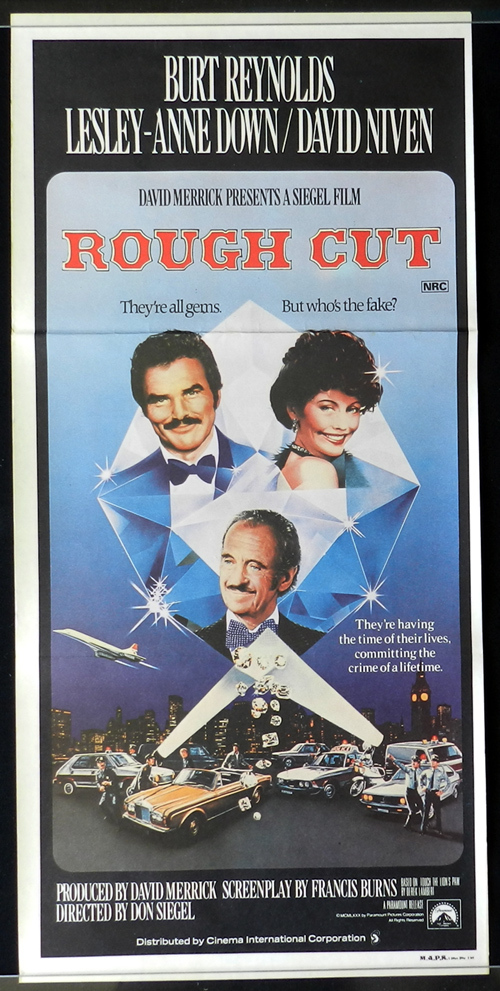 ROUGH CUT Original Daybill Movie Poster 1980 Burt Reynolds David Niven Don Siegel