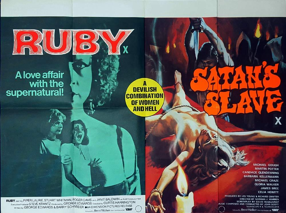 RUBY plus SATAN'S SLAVE British Quad Movie poster HAMMER Double Bill