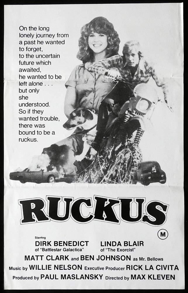 RUCKUS Original Daybill Movie Poster Dirk Benedict Linda Blair