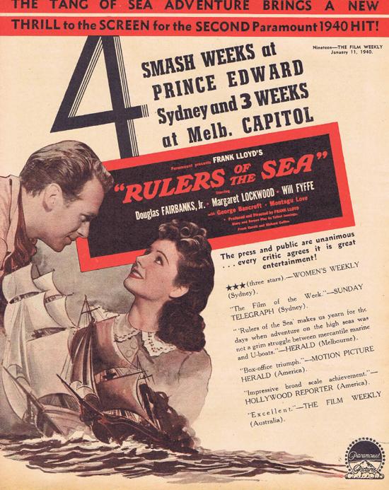 RULERS OF THE SEA 1940 Douglas Fairbanks Jr Movie Trade Ad